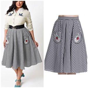 Hell Bunny Vixen 1950s Swing Skirt Gingham Ladybug